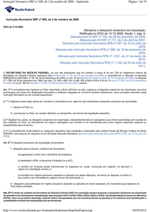 IN SRF 680/06 - Despacho Aduaneiro de Importação
