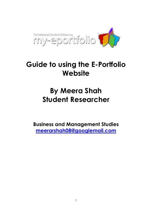 Industry Practice Interactive E-Portfolio website User Guide