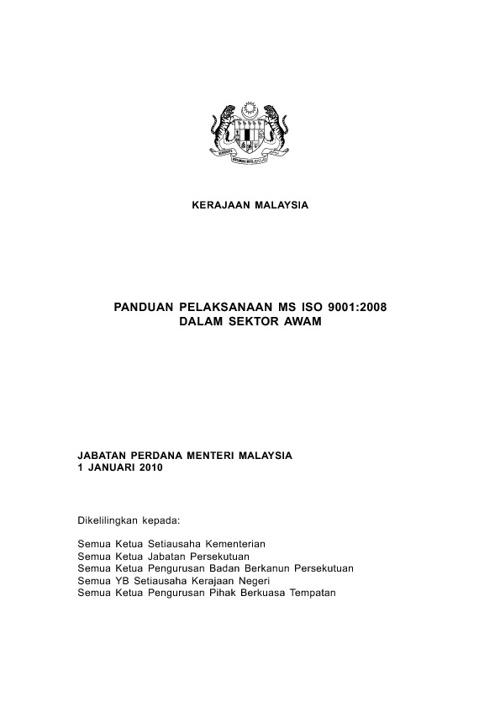 1a PKPA Bil. 1 Tahun 1999 -  Garis Panduan Pelaksanaan MS 9001:2