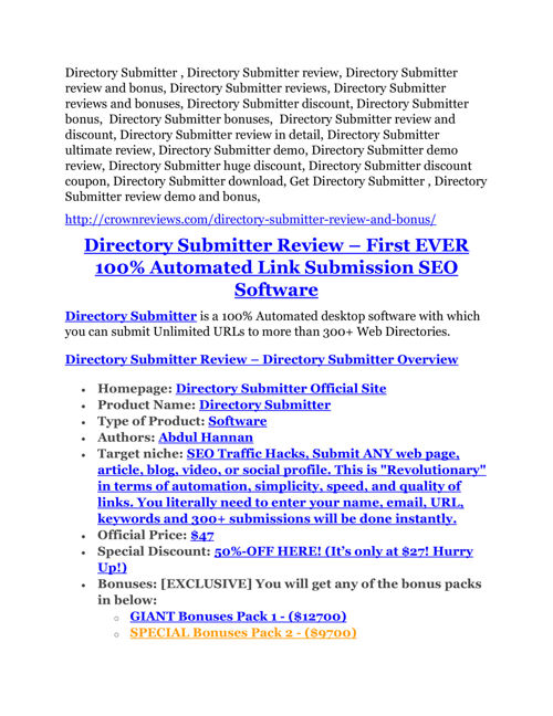 Directory Submitter review & (GIANT) $24,700 bonus
