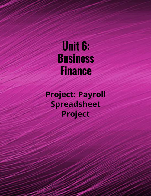 Unit 6: Business Finance