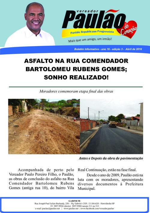 Edição 3 - Asfalto Rua Com Bartolomeu Rubens Gomes, Vila Real