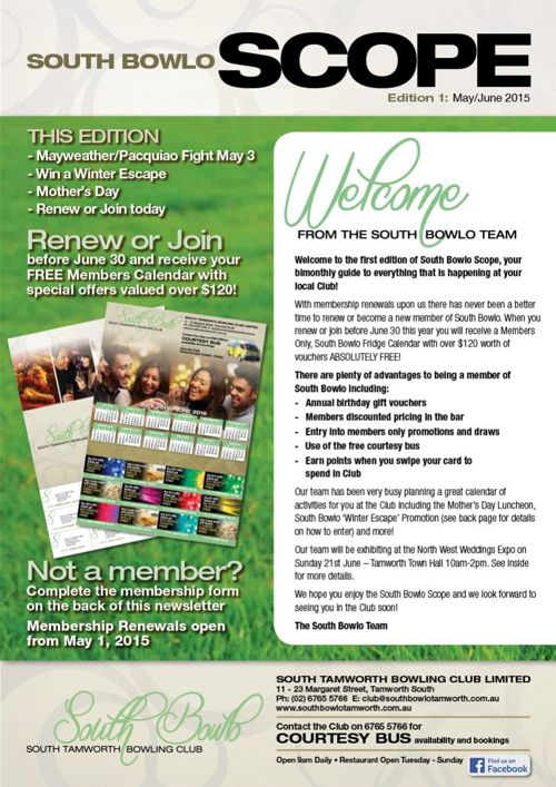 South Bowlo May June 2015 Newsletter - SCOPE (South Tamworth Bow