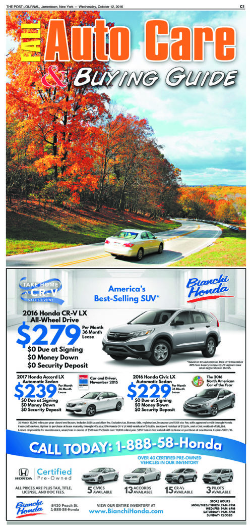 Fall Auto Care Buying Guide -The Post-Journal - October 2016