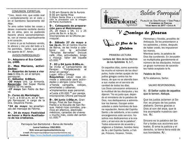 Boletín 14 de mayo, Parroquia San Bartolomé Apóstol