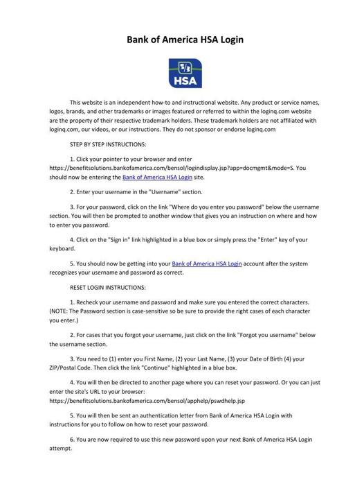 Bank of America HSA Login
