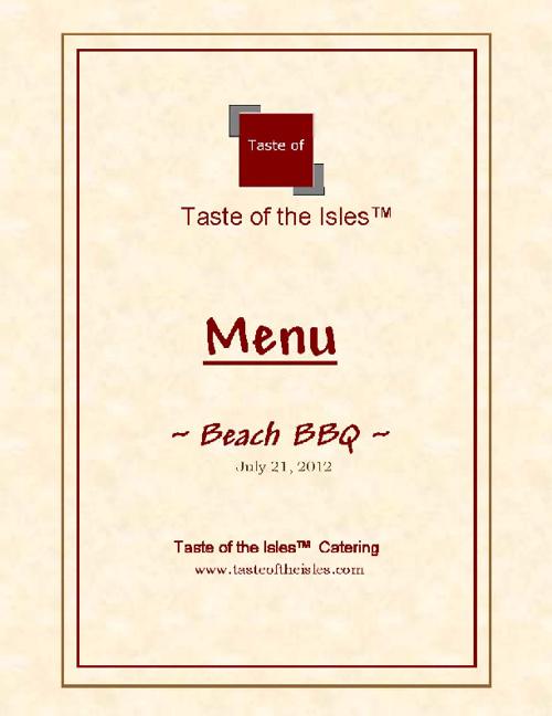 Beach BBQ Menu