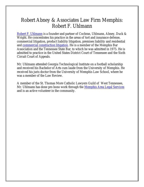 Robert Abney & Associates Law Firm Memphis: Robert F. Uhlmann