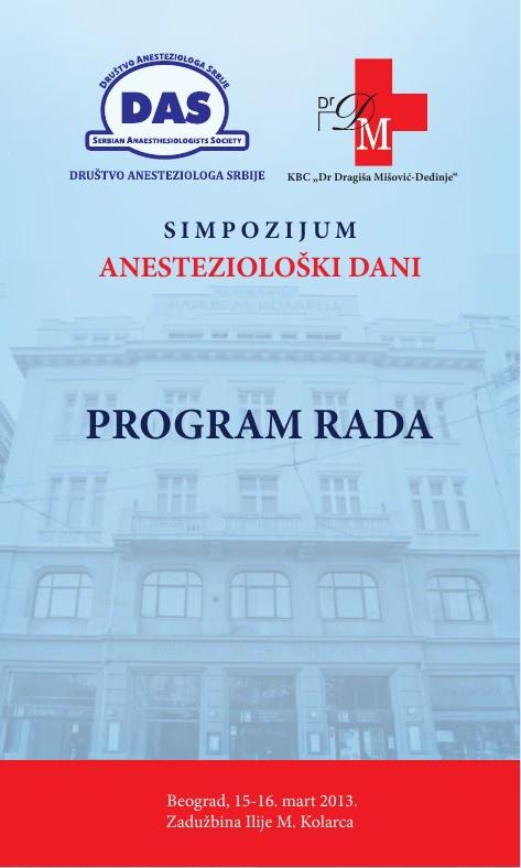 Program rada - Anestezioloski dani