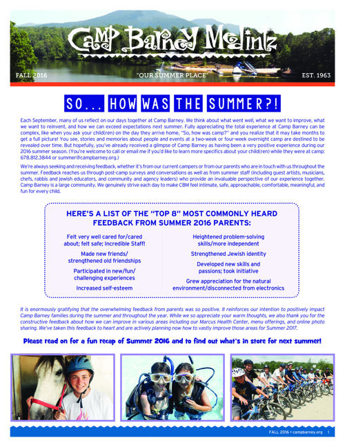 Camp Barney Medintz Newsletter Fall 2016