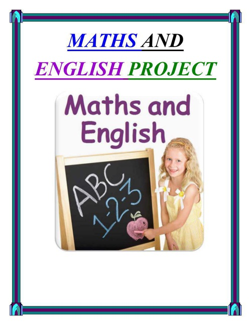 MATHS AND ENGLISH PROJECT