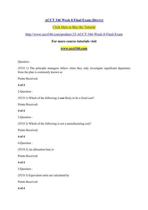 ACCT 346 Week 8 Final Exam (Devry)