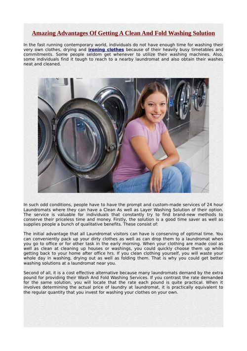 Amazing Advantages Of Getting A Clean And Fold Washing Solution