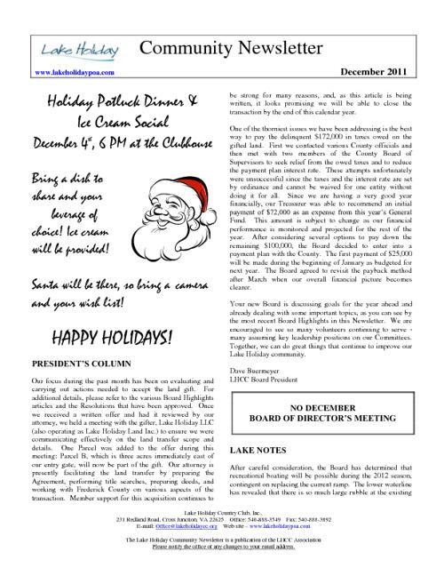LHCC - Newsletter - December 2011