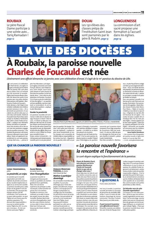 Article de la Croix du Nord - Création de la paroisse nouvelle