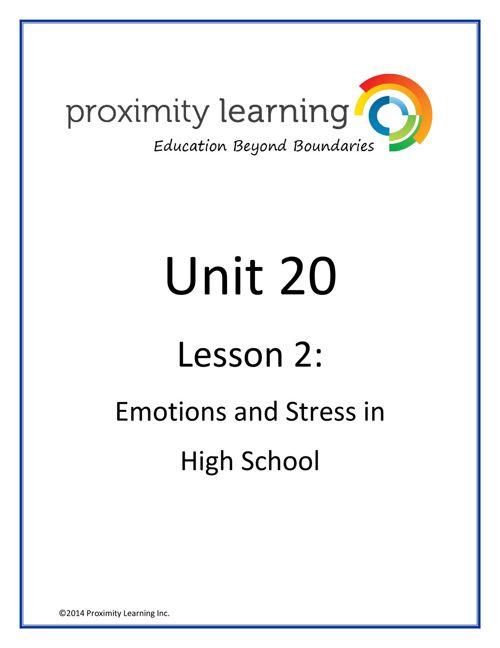 CHN 4 Unit 20 Lesson 2:  Emotions and Stress
