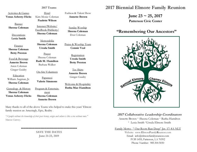 Family  Reunion updates June 13  2017 Use