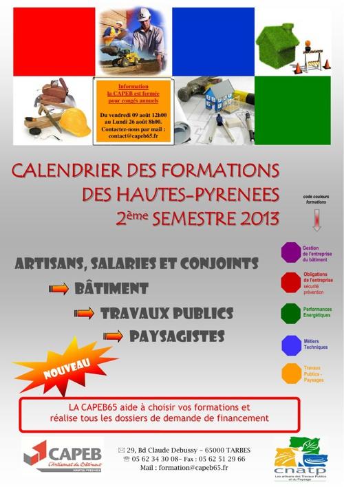 Catalogue formations Capeb 65 2ème semestre 2013