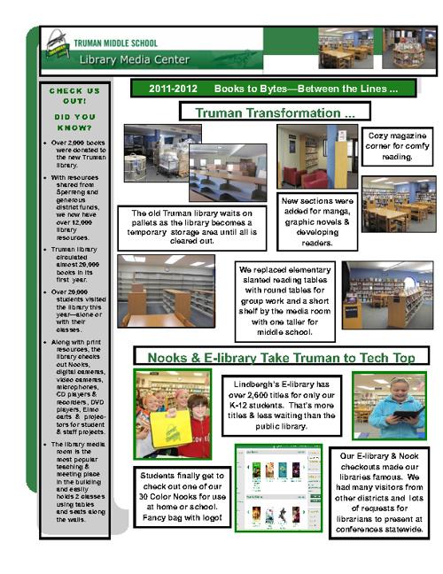 Truman Middle School Library Media Center 2011-2012