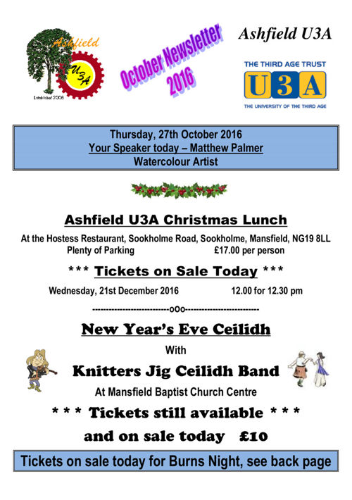 Ashfield U3A newsletter for October 2016