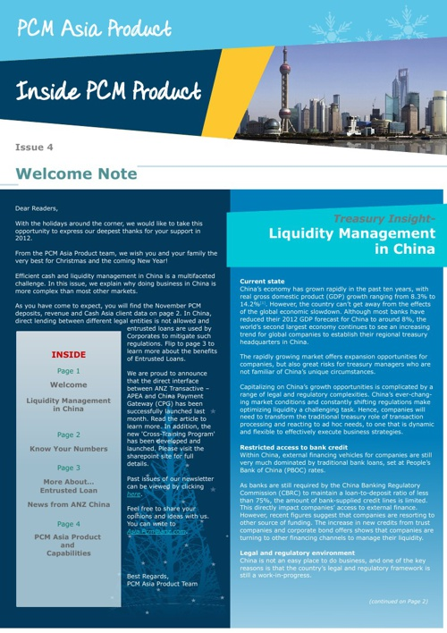 ANZ Inside PCM Newsletter Dec 2012