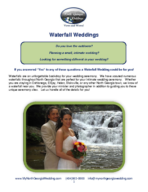 Waterfall Weddings Packages at North Georgia Weddings