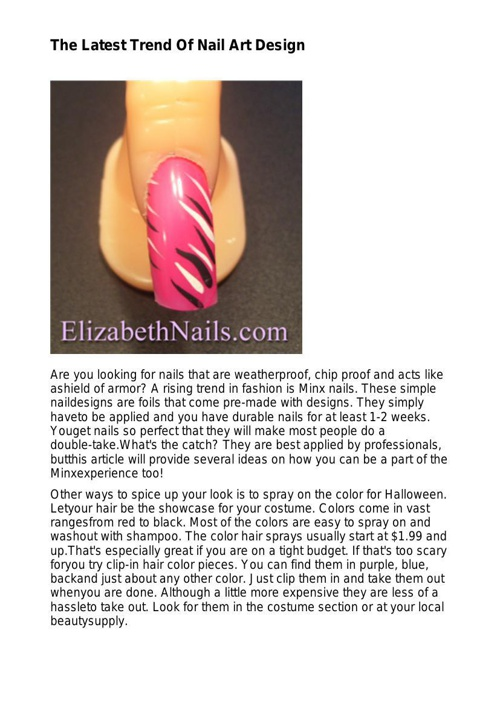 The Latest Trend Of Nail Art Design