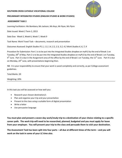 Term 2 Assessment Task
