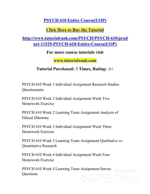 PSYCH 610 Potential Instructors / tutorialrank.com