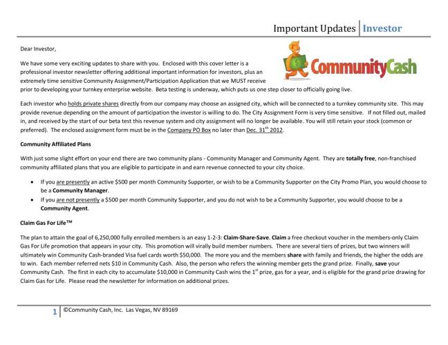Community Cash Investor Participation