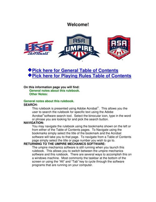 ASA Rulebook:Umpire Edition