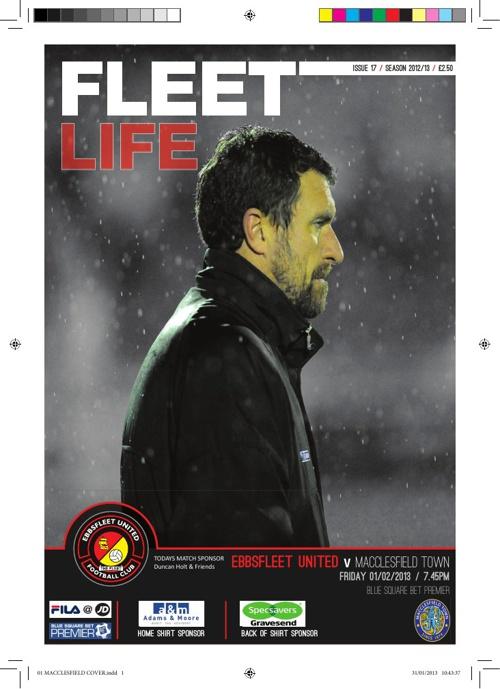 MatchDay Programme Ebbsfleet Utd vs Maccelsfeild Town 1st Feb 13