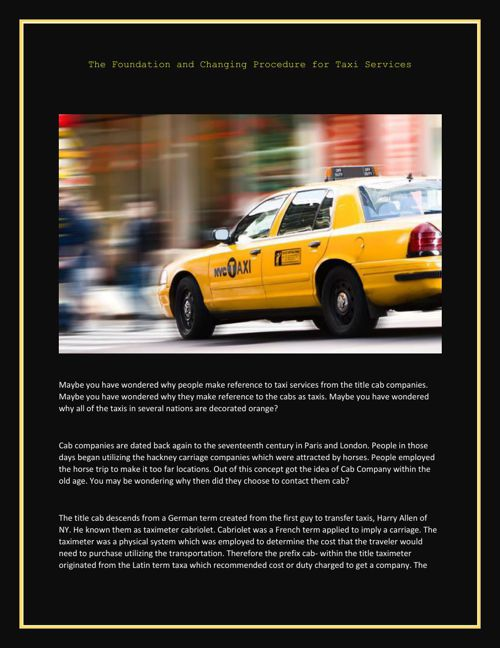 The Foundation and Changing Procedure for Taxi Services
