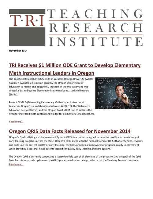 Teaching Research Institute: December 2014 Newsletter