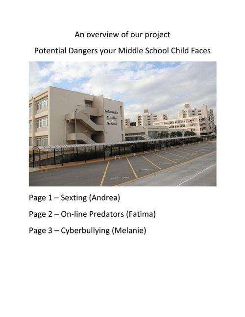Parent Alert! - Personal Dangers your Middle School Student Face