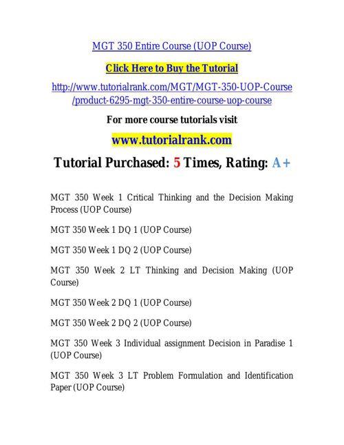 MGT 350 learning consultant / tutorialrank.com