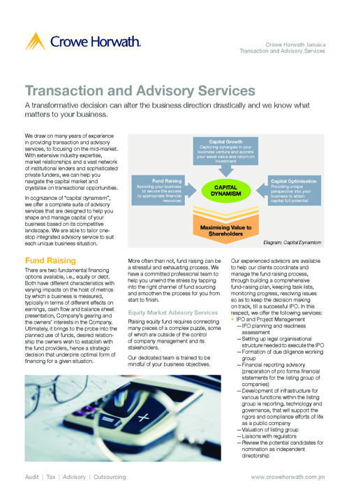 Corporate Advisory - Transaction and Advisory -Jamaica