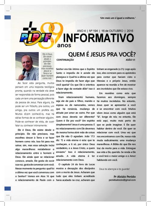 INFORMATIVO PIBJF 16.10.2016