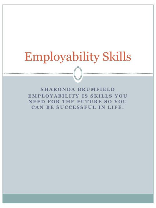 Employability Skills SHARONDA