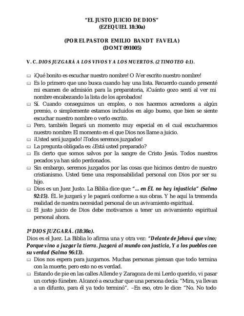 """""""EL JUSTO JUICIO DE DIOS"""""""