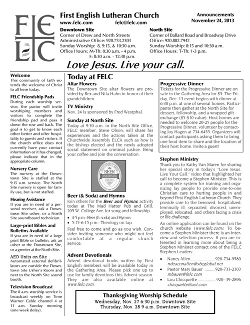 FELC Weekly Announcements for Nov. 24, 2013