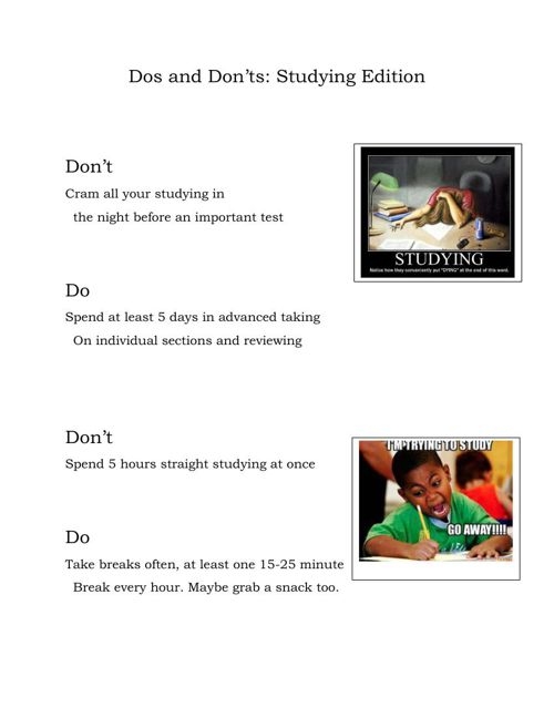 Dos and Don'ts- Studying Edition