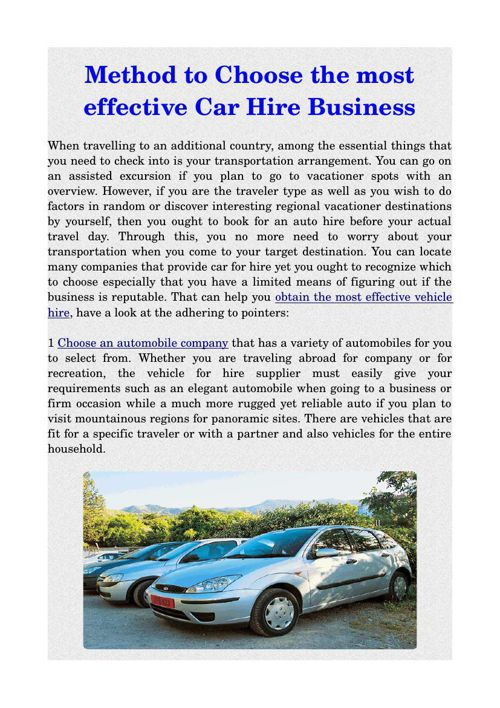 Method to Choose the most effective Car Hire Business
