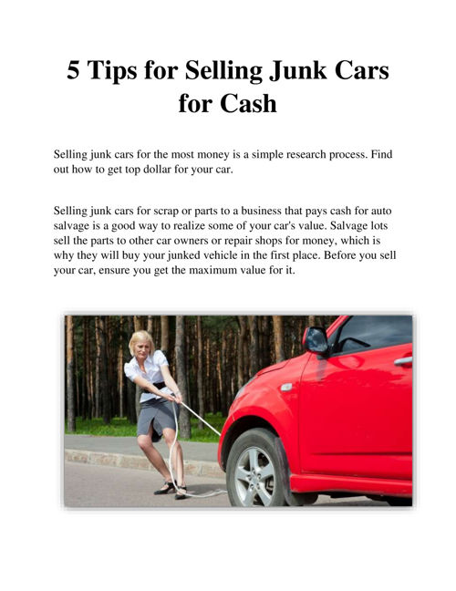 5 Tips for Selling Junk Cars for Cash