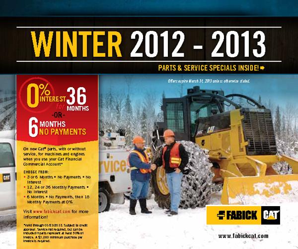 Fabick Parts & Service Winter Specials 2012