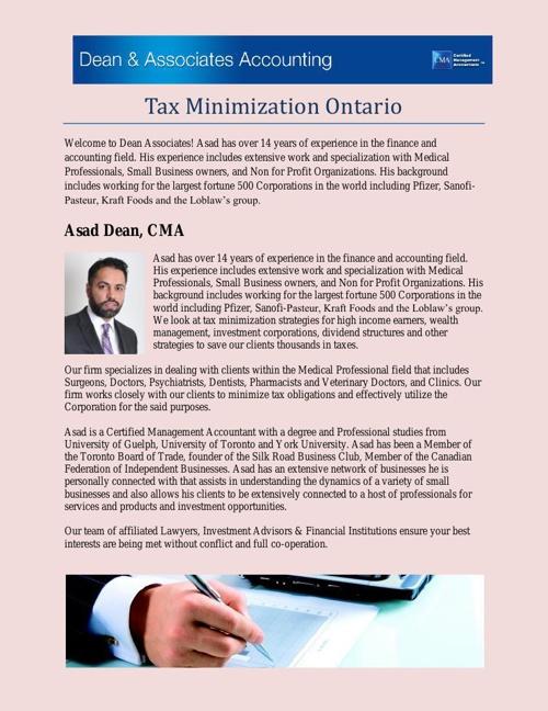 Tax Minimization Ontario