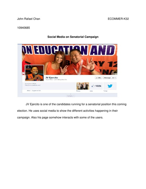 Senatorial Campaign through social Media