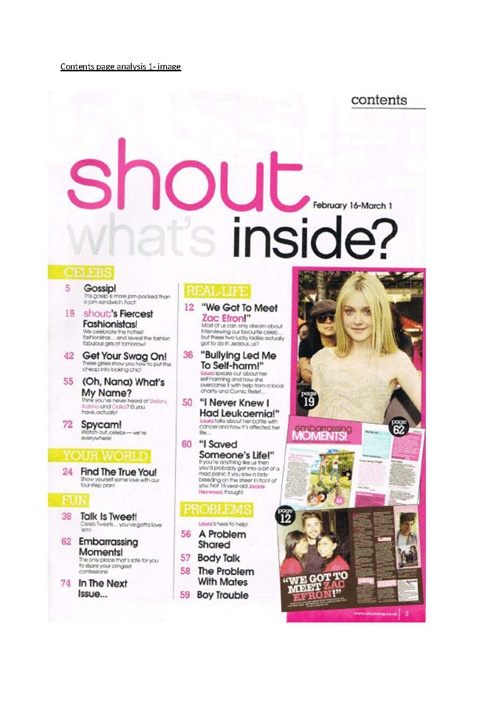 Copy of magazine analysis (magazine contents page)