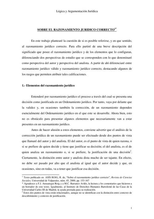 Razonamiento Jurídico Correcto Universidad de Valparaíso