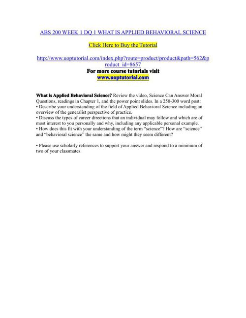 ABS 200 WEEK 1 DQ 1 WHAT IS APPLIED BEHAVIORAL SCIENCE